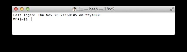 Mac ターミナル起動時の画面