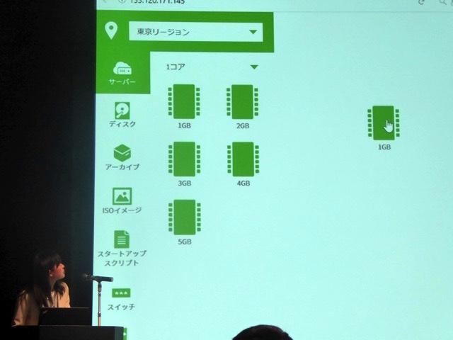 さくらのクラウド、東京リージョンから1コアの1GBを選択
