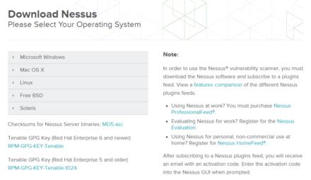 図3 Nessusのダウンロードページ