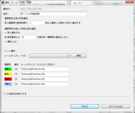 図12 デフォルトで用意されているメール通知設定(通知ID「MAIL_FOR_POLLING」)