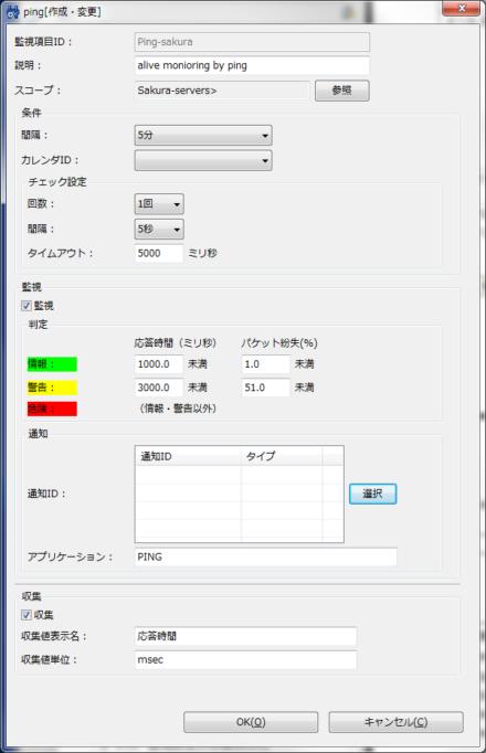 図10 監視項目ごとの設定画面で「通知ID」に使用する通知のIDを登録する