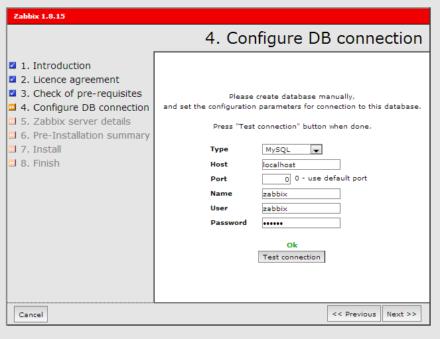 図4 「Configure DB connection」画面