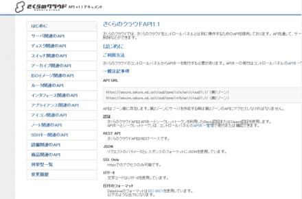 図1 さくらのクラウド API v1.1 ドキュメント
