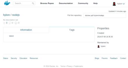 図4 Docker Hubの「hylom/nodejs」リポジトリ