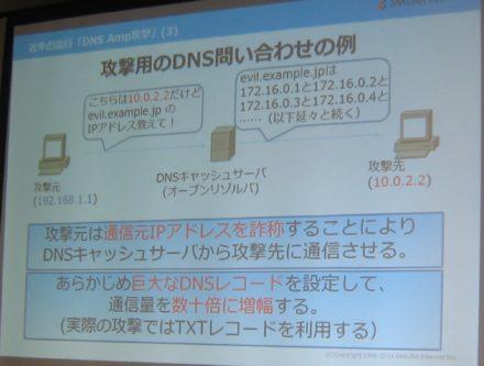 攻撃用のDNS問い合わせの例