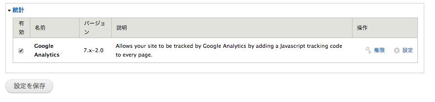 Google Analyticsのモジュールチェック画面