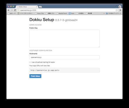 Dokku Alternativeのセットアップ画面です。