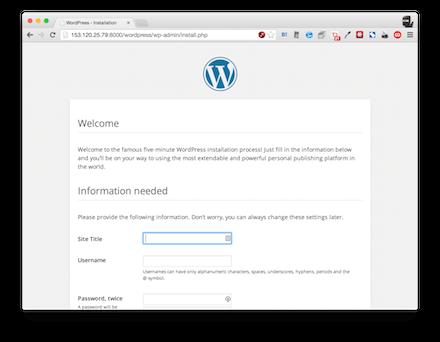 WordPress実行画面