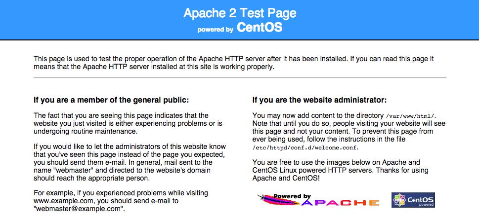 CentOSのApacheデフォルトページ