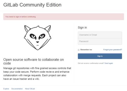 図10 GitLabのログイン画面