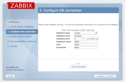 図4 データベースの接続設定画面。データベース名や接続に使用するユーザー名、パスワードなどを指定する