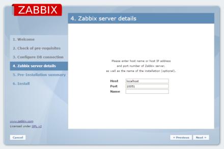 図5 Zabbixサーバーのホスト名/ポート番号の設定画面。通常はデフォルトのままで構わない
