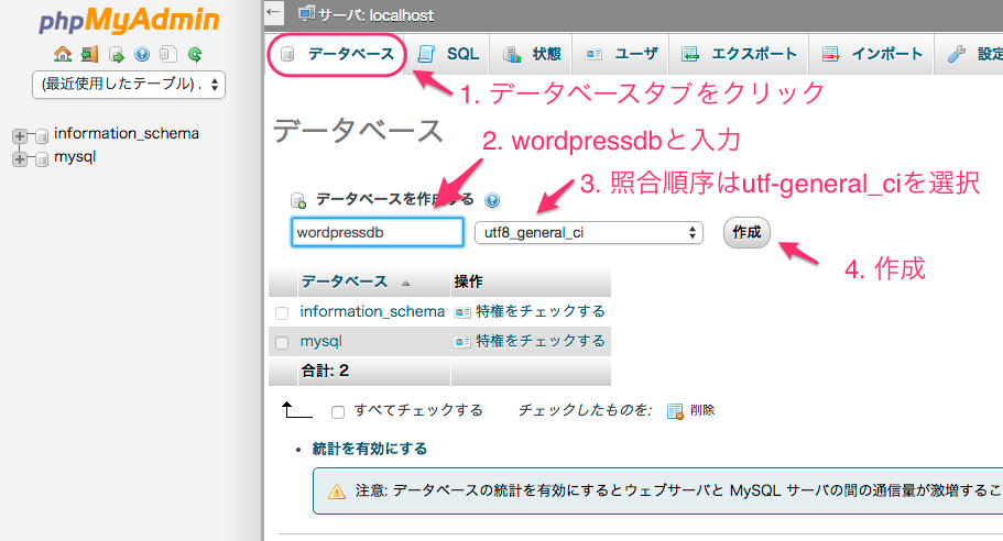 phpMyAdminでデータベースを作る