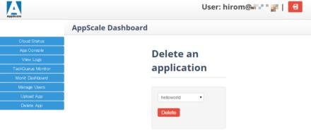 図7 管理コンソールの「Delete App」をクリックすると表示される「Delete an application」画面