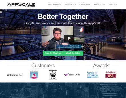 図1 AppScaleの開発元であるAppScaleのWebサイト