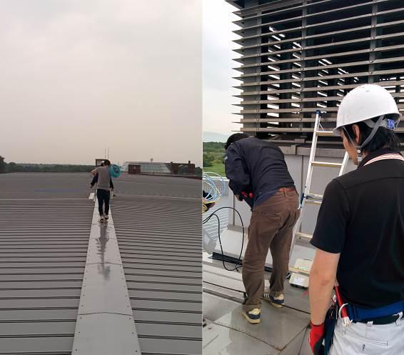 石狩データセンター 屋根上に、FWA親局を設置