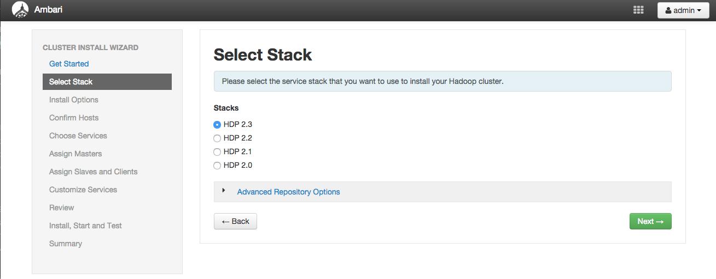 Ambari Select Stack画面