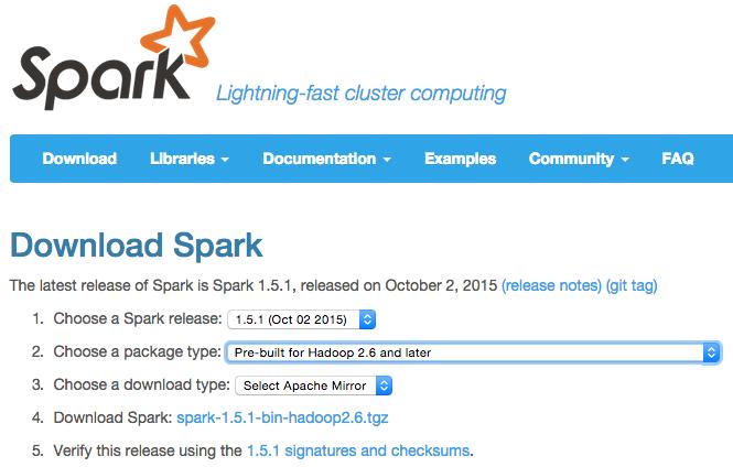 Spark ダウンロード画面