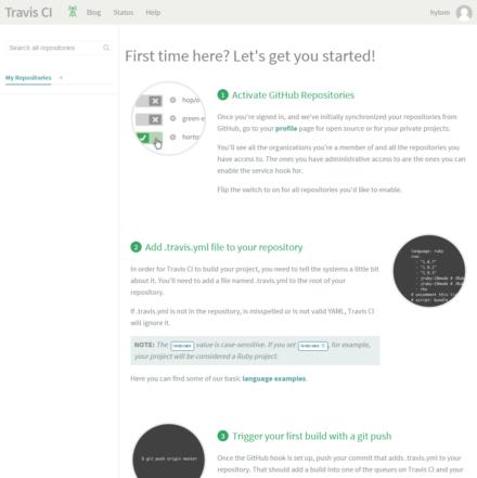 図3 Travis CIへのログイン直後に表示される「Getting Started」ページ