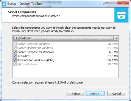 図3 Docker ToolboxではVirtualBoxやGit for Windowsもまとめてインストールできる