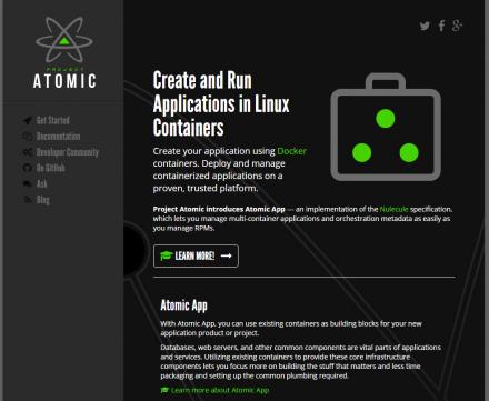 図1 CentOS Atomic Hostなどを開発するProject AtomicのWebサイト