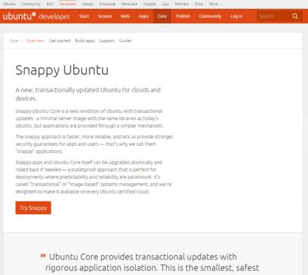 図2 Ubuntu開発者向けサイトのSnappy Ubuntuページ