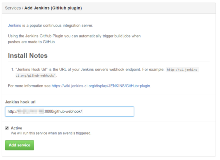 図29 「Jenkins hook url」でJenkinsが稼動しているサーバーのURLを指定する