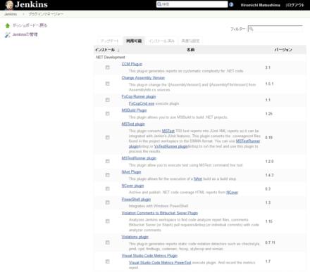 図2 Jenkinsのプラグインブラウザ