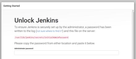 図3 Jenkinsへの初回アクセス時には「アンロック」作業が必要となる