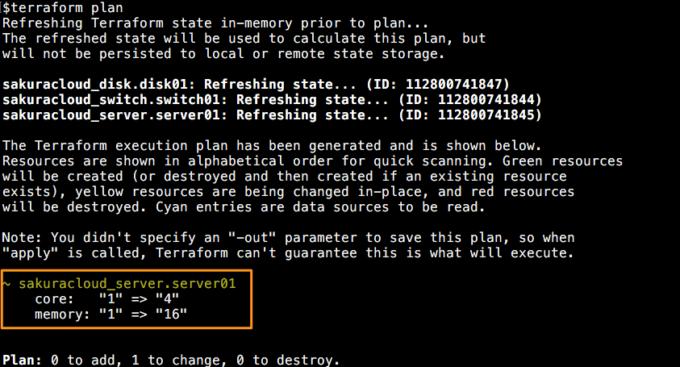 リソース変更実行例