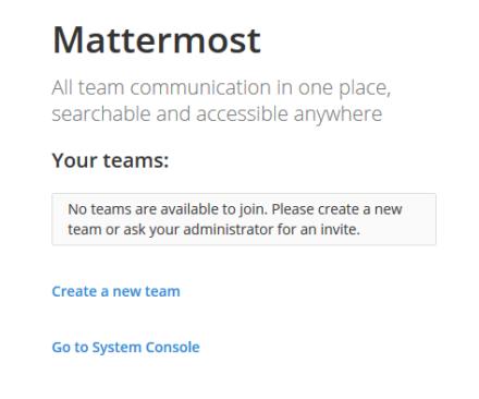 図12 Mattermostのチーム選択画面