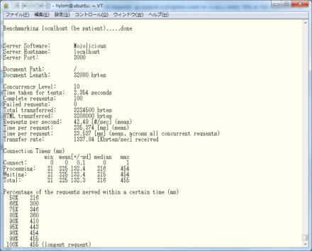 図1 Apache Benchの実行結果画面
