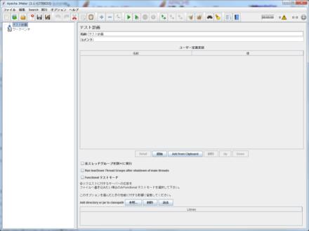 図1 Apache Jmeterのメインウィンドウ