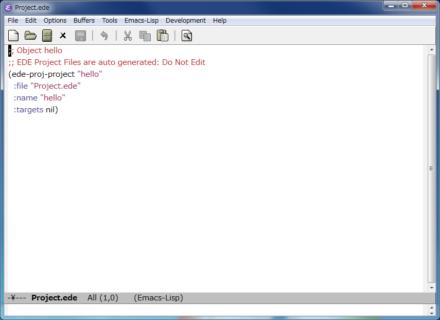 図4 プロジェクトを作成すると、ディレクトリ内に「Project.ede」という設定ファイルが作成される