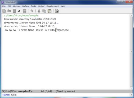 図5 「M-x ede-new-target」コマンドで、プロジェクトで生成したいファイルを登録する。今回は「hello」というファイルを作成する