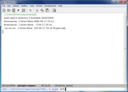 図7 プロジェクトのディレクトリ内に新たなファイルを作成すると、そのファイルに対応付けるターゲットの入力が求められる。ここでは「hello.c」というファイルを作成し、先ほど作成した「hello」というターゲットに対応付けている