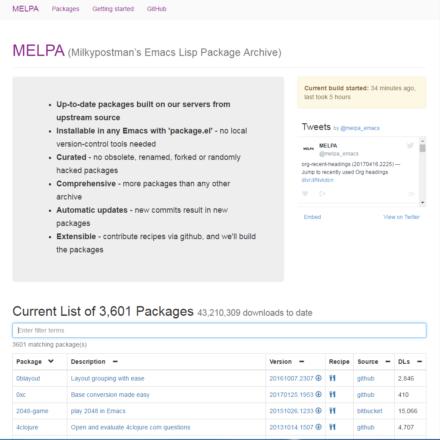 図12 サードパーティによるEmacs向けパッケージリポジトリ「MELPA」