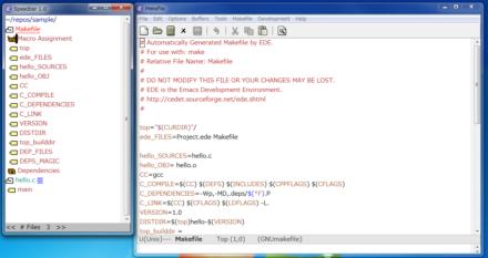 図9 Speedbarでは、開いているファイルと同じディレクトリ内にあるファイルや、各ファイル内のシンボルなどにアクセスできる
