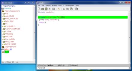 図10 Speedbar内で表示されるファイル名やシンボルをクリックするとそのファイルを開いたり、関数の定義位置に移動できる