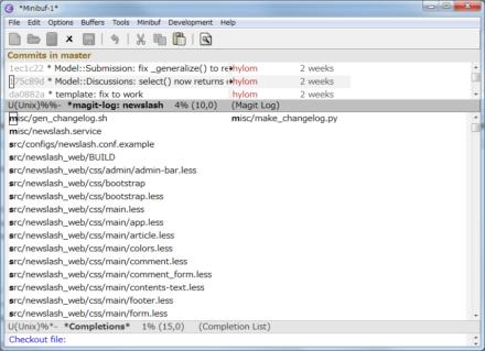 図23 「M-x magit-file-checkout」コマンドで特定のファイルのみをチェックアウトできる