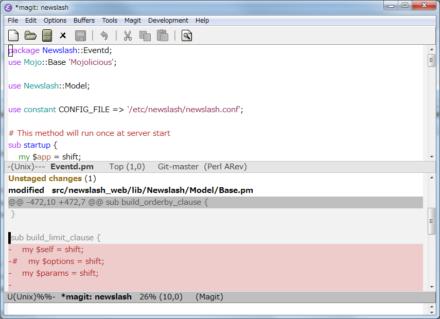 図15 MagitバッファではTabキーで情報の表示/非表示を切り替えられる