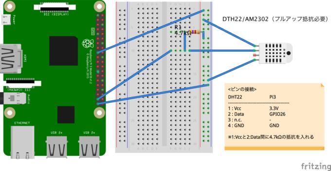 DHT22接続回路(プルアップ抵抗あり)