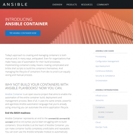 図1 Ansible ContainerのWebサイト