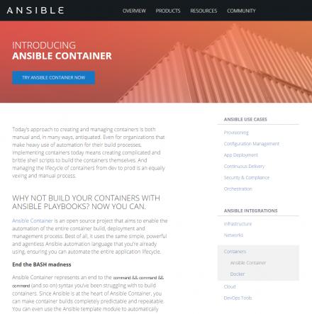 図1 Ansible ContainerのWebサイト