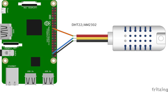 DHT22接続回路(プルアップ抵抗なし)