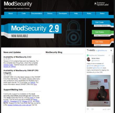図1 ModSecurityのWebサイト