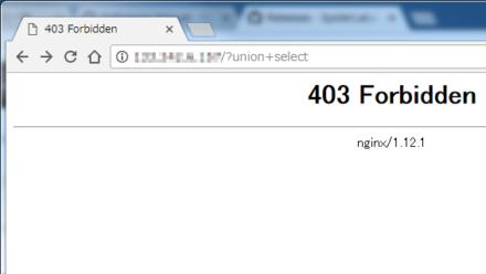 図2 末尾に「?union+select」を付けるとブロックされる