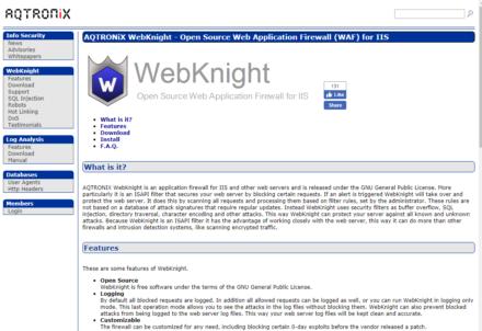 図3 AQTRONIXのWebKnightページ