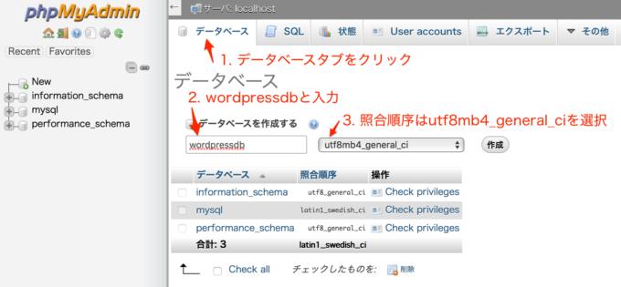 phpMyAdminでWordPress用のDBを作成