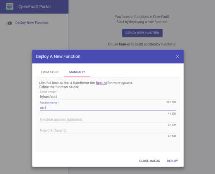 図5 OpenFaaS Portalの「Deploy A New Function」画面で「MANUALLY」を選択し、イメージとファンクション名を指定してデプロイする
